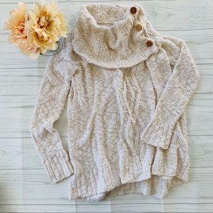 Anthropologie Moth Cream Knit Cowl Neck Sweater